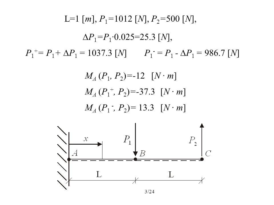 L=1 [m], P1=1012 [N], P2=500 [N],P1=P1·0.025=25.3 [N], P1+= P1+ P1 = 1037.3 [N] P1- = P1 - P1 = 986.7 [N]